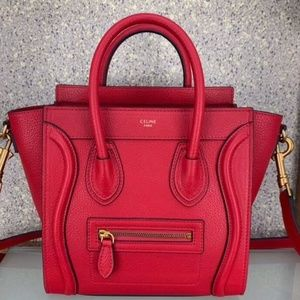 Celine Nano Burgundy Red Caviar Leather